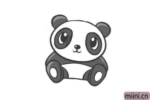 中国国宝萌萌哒熊猫简笔画步骤教程