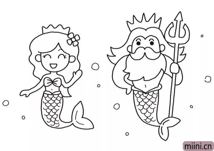 6.然后画国王的头发、王冠和身体细节。