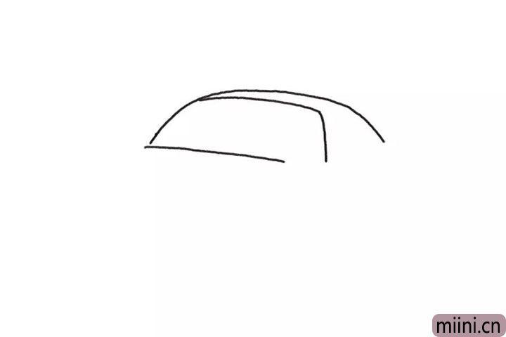1.先画跑车的前挡风玻璃轮廓。