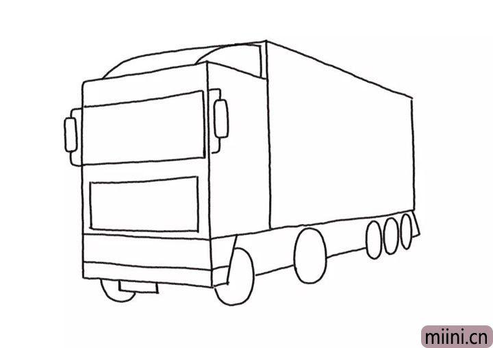 4.画出车头的挡风玻璃、反光镜等细节部位。