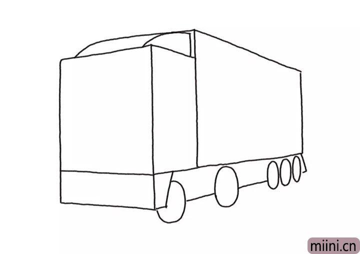 3.给卡车画上轮胎和底盘线条。