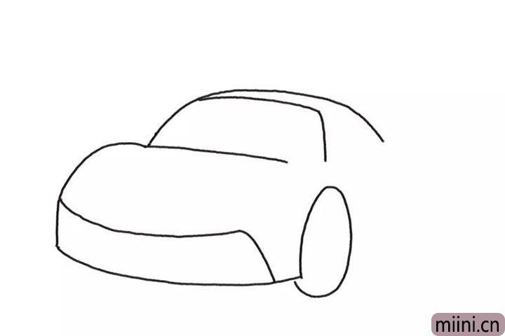 2.接着画车头、保险杠和前轮。