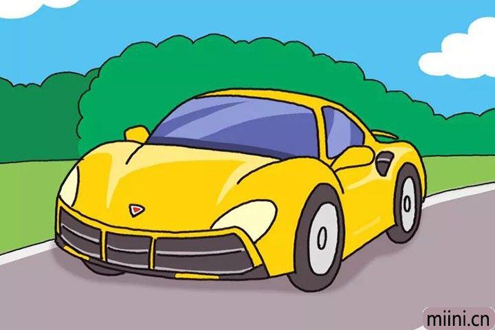 行驶在高速公路上的黄色跑车简笔画步骤教程