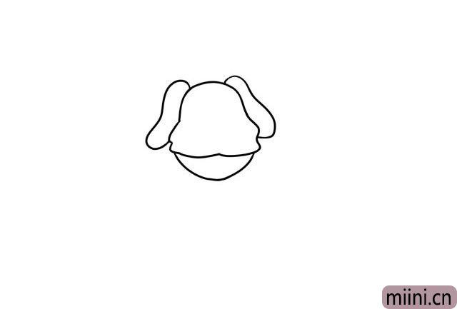 2.画出狗狗的下巴和两只大耳朵。