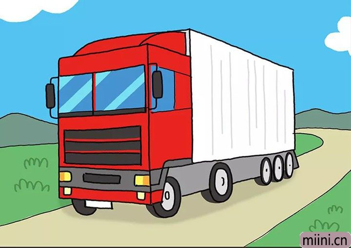 行驶在公路上的红色大卡车简笔画步骤教程