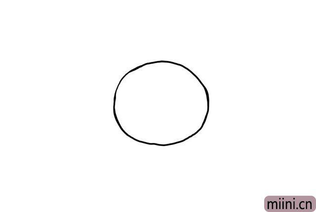 1.线画一个大圆,作为小松鼠珊迪的头盔轮廓。