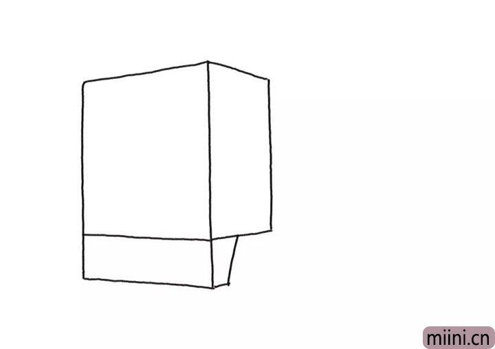 1.先画出大卡车的车头轮廓。