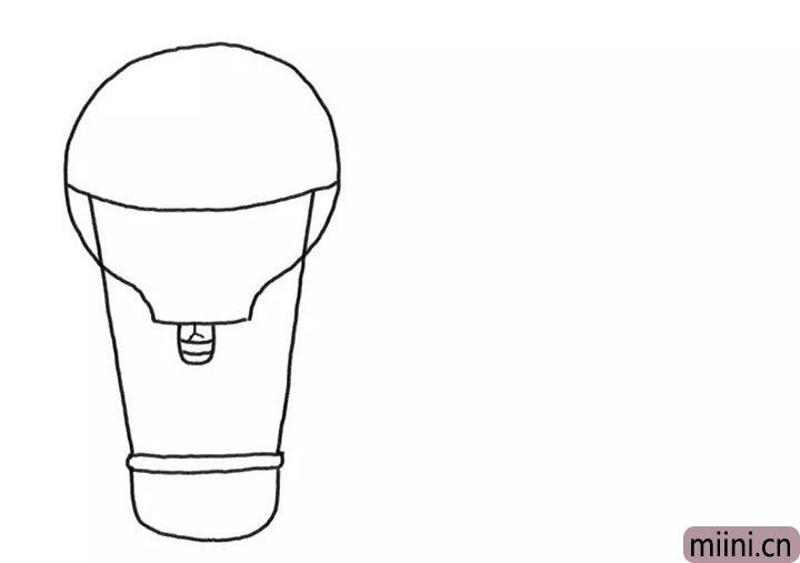 2.接着画热气球的喷火器和藤条框轮廓。