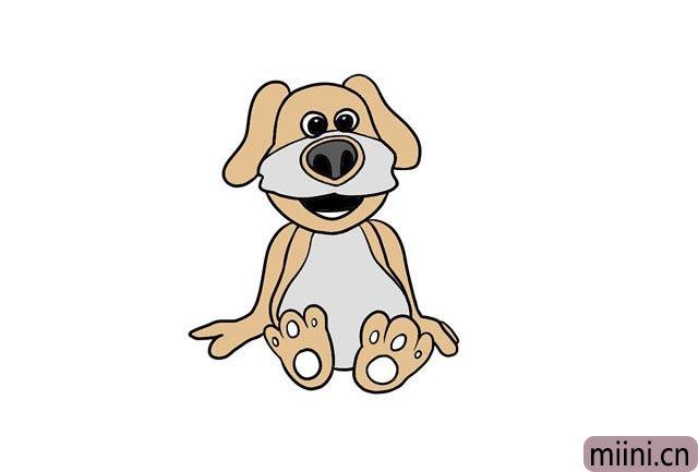 坐在地上的小狗简笔画步骤教程