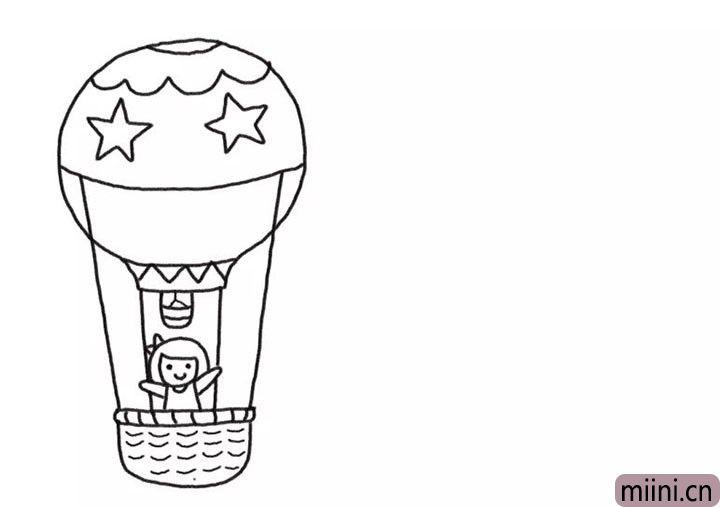 3.画出框内站着的小女孩和热气球伞盖花纹。