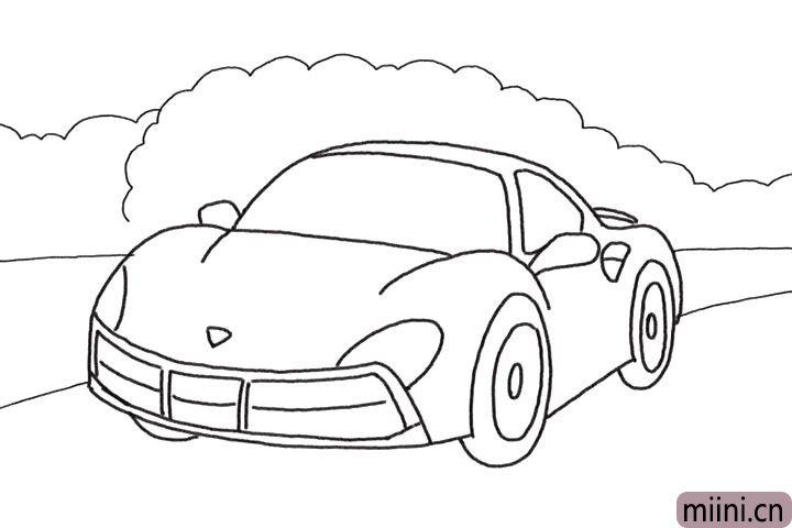 6.画出车后的树木和路面轮廓。