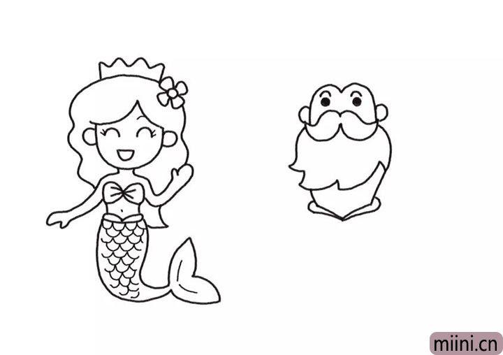 4.画人鱼国王的脸部和胡子轮廓。