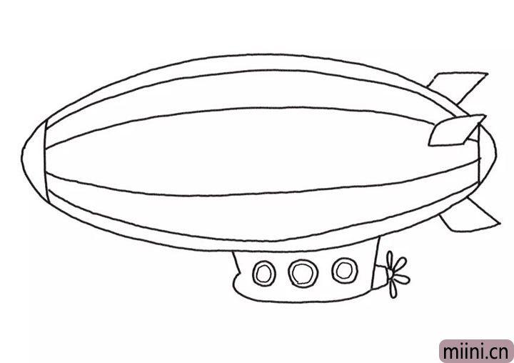 5.画飞艇气囊的装饰线条和窗户轮廓。