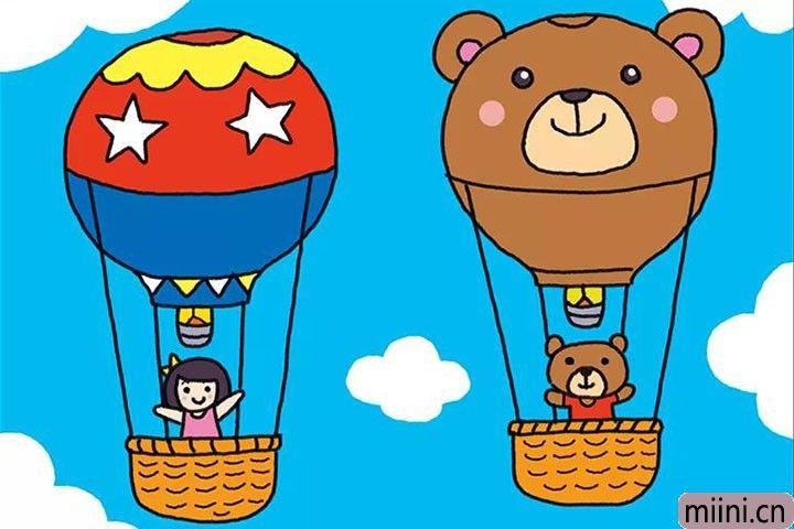 两个漂亮的热气球简笔画步骤教程