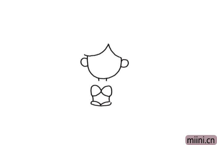 1.先画出美人鱼的头部及身体轮廓。