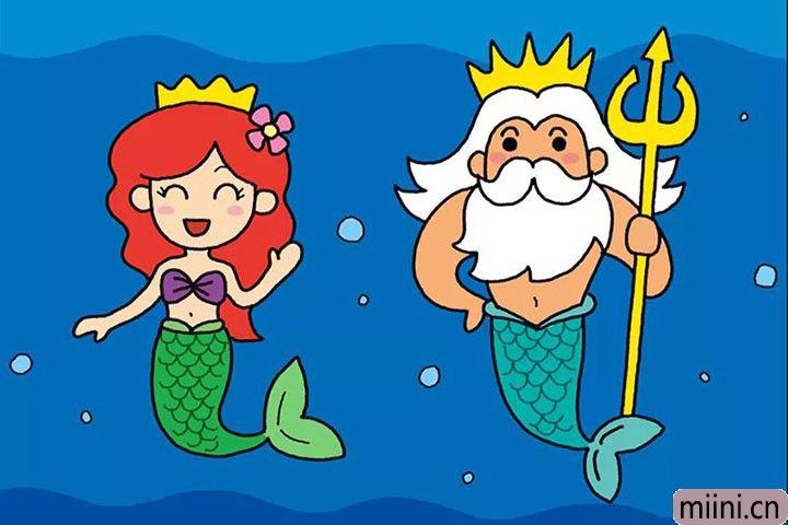 人鱼公主和人鱼国王的简笔画步骤教程