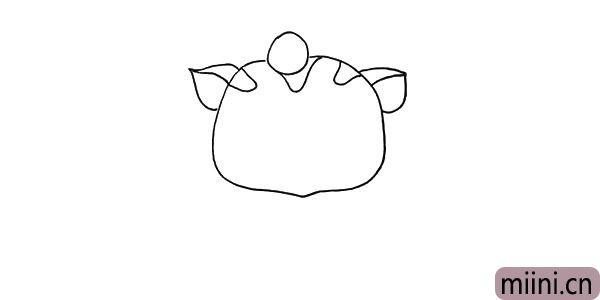 第四步.用叶子一样的形状.画出猫咪的耳朵。