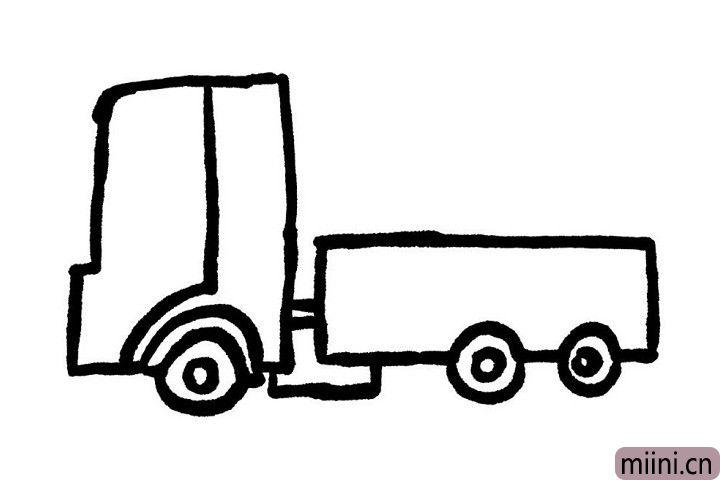 5.我们给小货车画出车门吧!这样小可爱们就可以从车门处上车了呢!