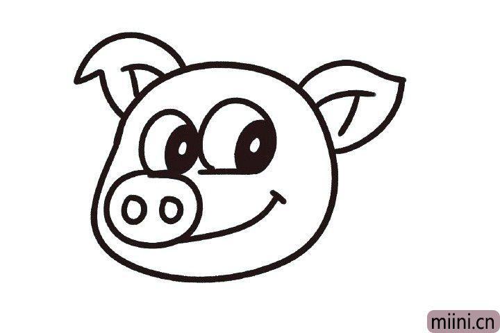 6.画椭圆形的猪鼻子引出嘴巴线条。