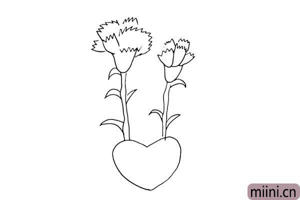 第七步:茎的下方给它加上一个大大的爱心装饰一下。