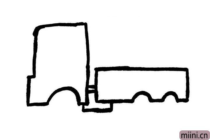 3.我们一起画出小货车的车厢吧!先留出轮胎的位置,其他地方用直线画起来就好啦!