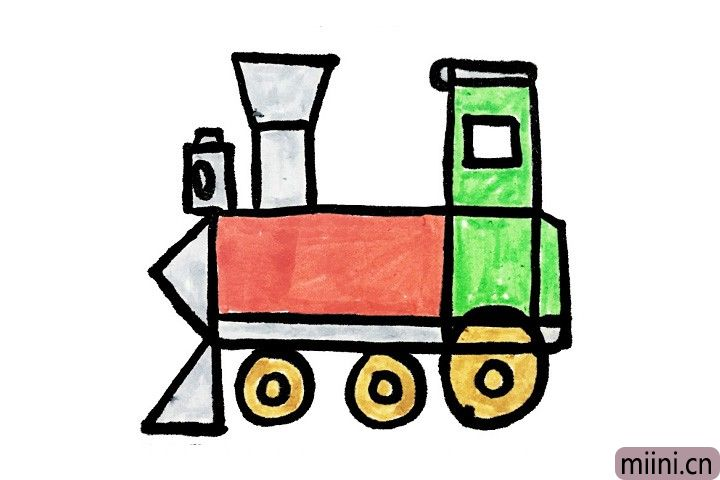 7.最后一步就是小盆友们大显身手的时候啦!小朋友们快给自己的小火车涂上漂亮的颜色吧!