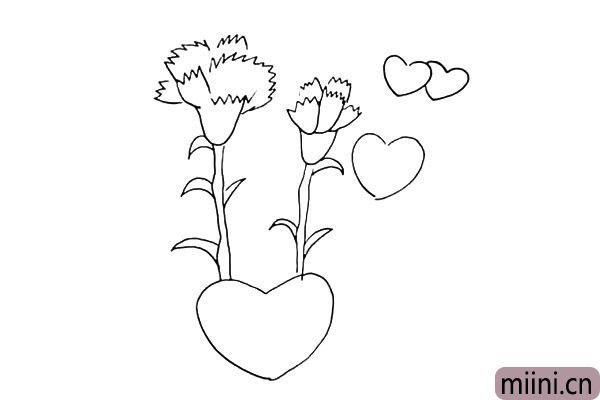 第八步:在花朵的右边也加上几颗小爱心。
