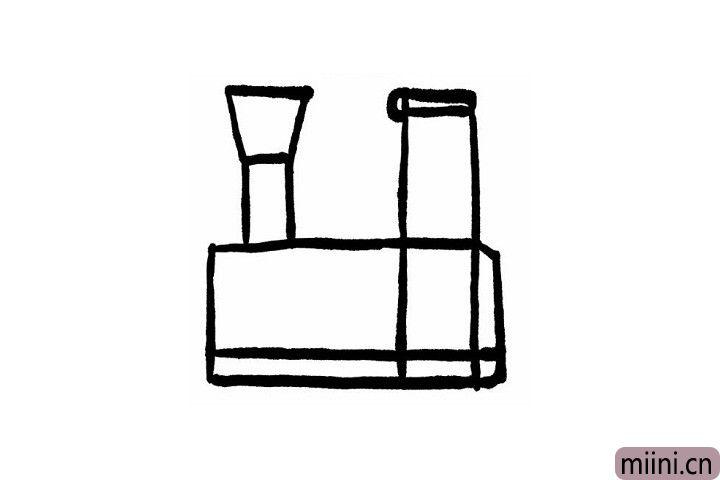 3.小火车正方形车身的右边画一个立着的梯形是小火车尖尖的车头,在小火车的车身里边画一条直线就是小火车链条哦!火车虽小,五脏俱全!