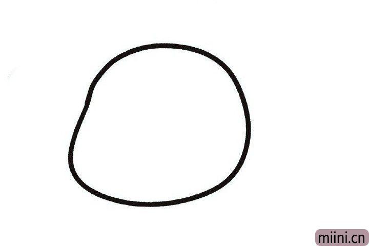 1.画一张左边有点凸起的脸。