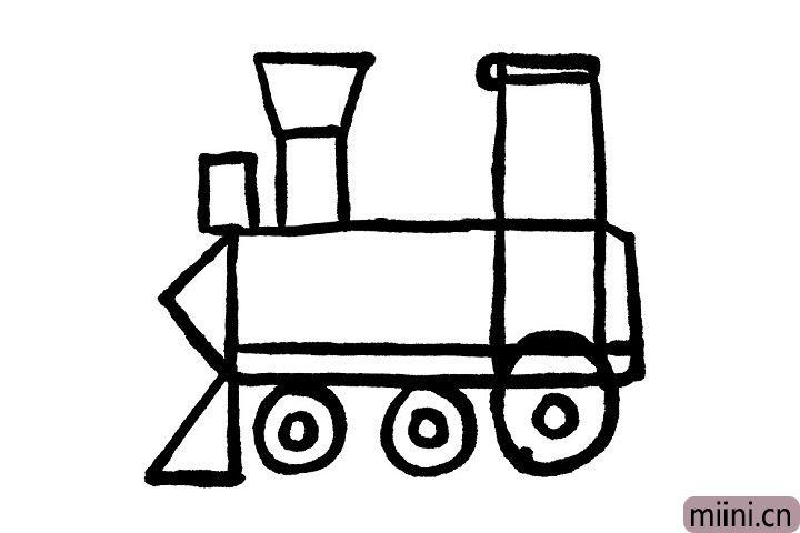 5.小火车车身左边的三角形是小火车的车尾,车尾下边的三角形是小火车车厢与车厢之间连接固定的地方哦!小朋友知道吗?以前的火车有两个烟囱哦,在车尾上边画一个小长方形就是小火车的小烟囱啦!
