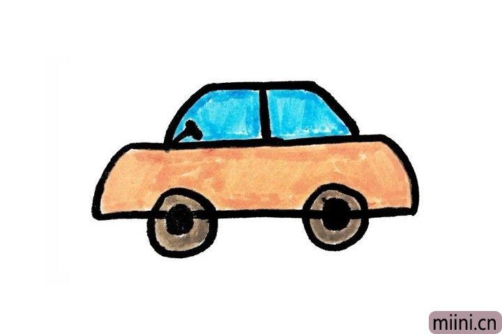 带小朋友去上学的小汽车简笔画步骤教程