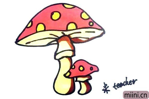 第九步.最后我们把画好的蘑菇图上漂亮的颜色吧。