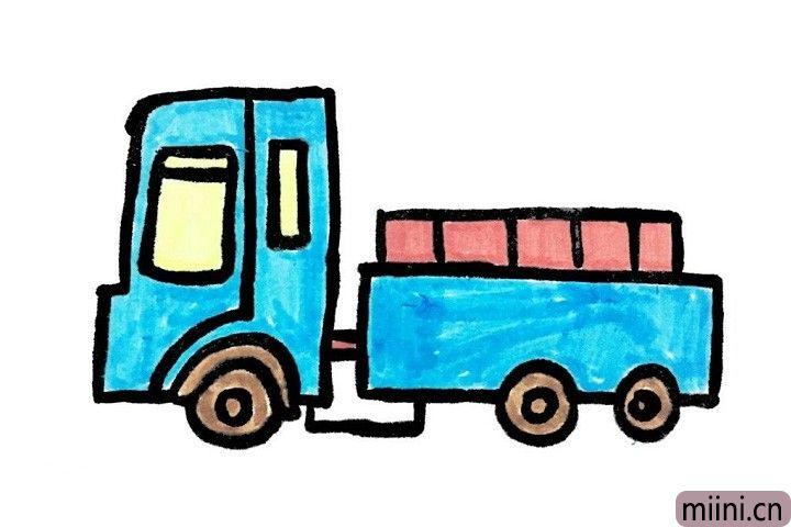 9.小朋友们喜欢开什么颜色的小货车呢?快给小货车涂上你自己喜欢的颜色吧!