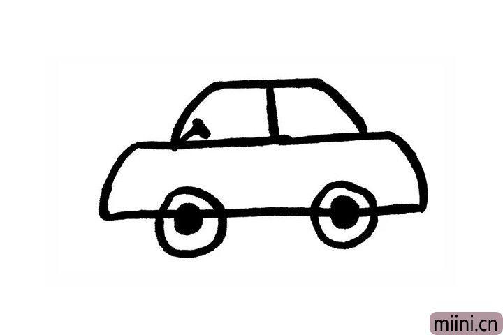 4.在小梯形的中间画一条竖线,这样看起来是不是更像小轿车的车窗了呢?给小轿车画上方向盘,是不是更加生动形象了呢?