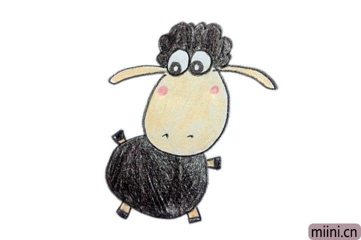 可爱的小羊肖恩简笔画步骤教程