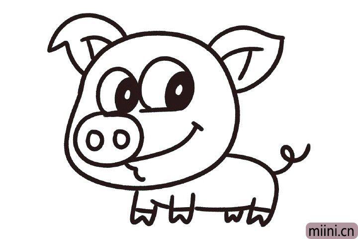 8.画身子的后面两条腿以及猪尾巴。