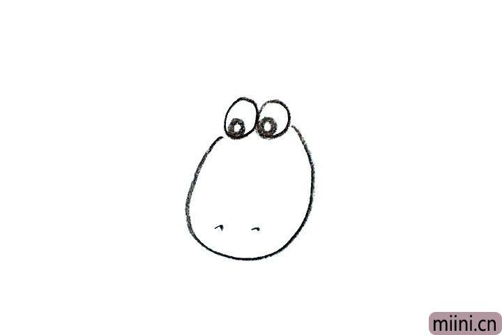1.先画出小羊的头部轮廓和眼睛。