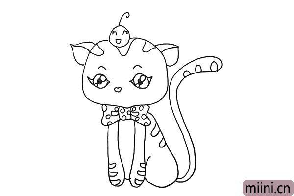 第十一步.接着我们画出猫咪心形的鼻子。