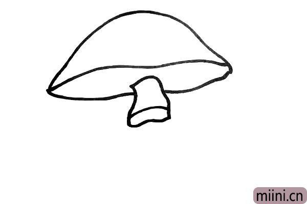 第三步.然后在留口的位置画出蘑菇的上节柄。