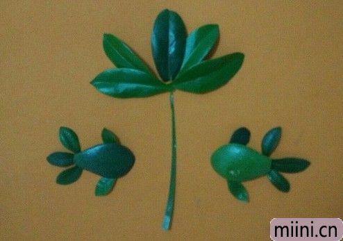 树叶贴画花和鱼06.JPG