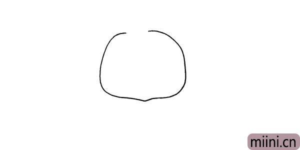 第一步.首先画出一个不规则的圆.是它的头部。