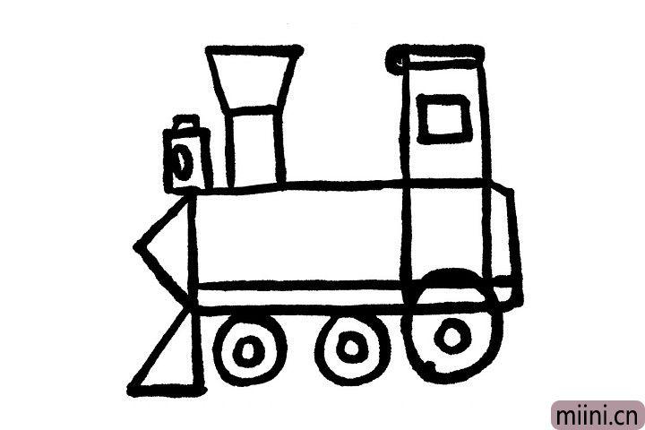 6.长方形的驾驶室内的小正方形是驾驶室的车窗哦!分别在车尾上边的小长方形内部画上一个矩形,上方也画一个矩形,看现在的小烟囱更形象生动了呢!