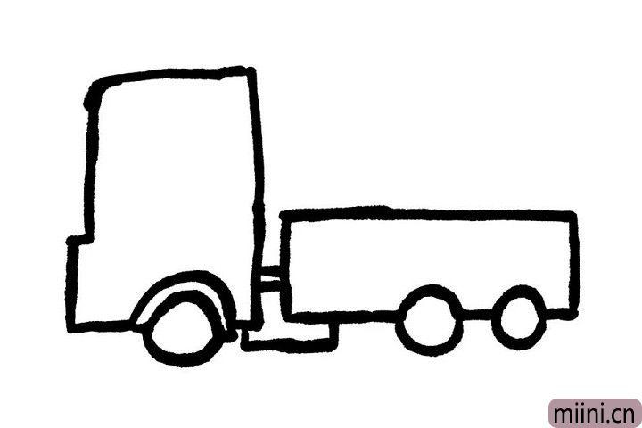 4.在留出车轮的位置处画个小圆圈,车轮就这样轻松的画好了哦!现在看起来有木有一丢丢形象呢?