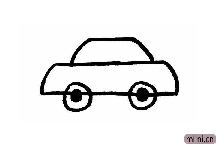 3.小轿车的车轮也很好画哦!我们在大梯形的长边处画两个实心的圆形,再画一个空心的圆把实心圆包裹起来就好啦!