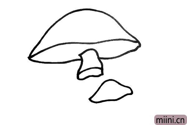 第四步.接着在右下方画上一个小蘑菇.注意小蘑菇的位置。