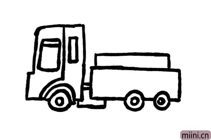 7.在小货车的车厢上画出一个小长方形,这就是小货车拉的货物哦!小可爱们是不是已经画好了呢?