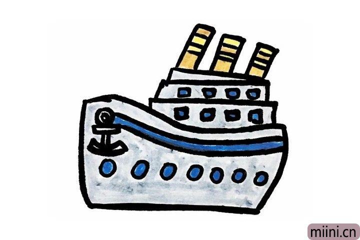 7.最后聪明的小艺术家们给酷炫的轮船涂上漂亮的颜色吧!