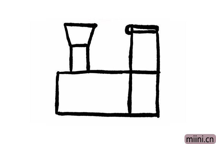 2.以前的火车都会有一个大大的烟洞!长方形上边加一个梯形是小火车的烟洞,小火车矩形车身右上边的长方形是火车的驾驶室,驾驶室上方的横着的长方形就是驾驶室的车顶喽!