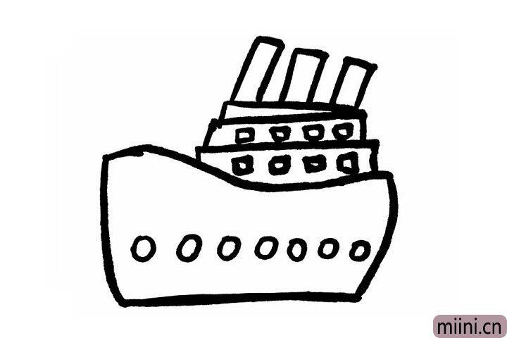 4.轮船每层上边的一排小正方形和轮船底部的一排小圆形就是轮船一排排的窗户喽!轮船晚上行驶在海洋上,这一排排的窗户就成了一道亮丽的风景线哦~