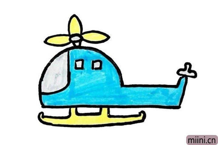 8.叮咚叮咚,小小艺术家们快给直升机涂上你喜欢的颜色吧!